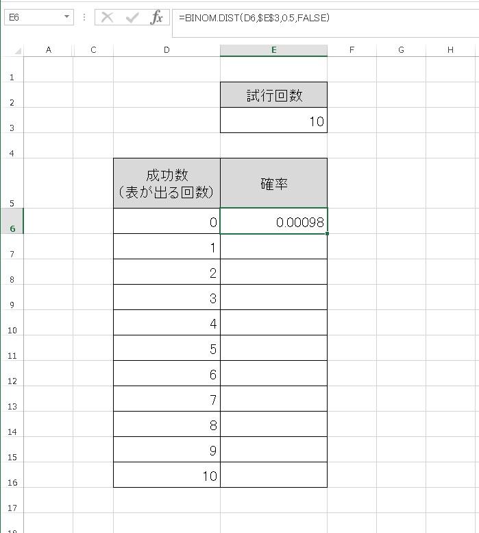 エクセル関数BINOM.DISTによる二項分布の作り方
